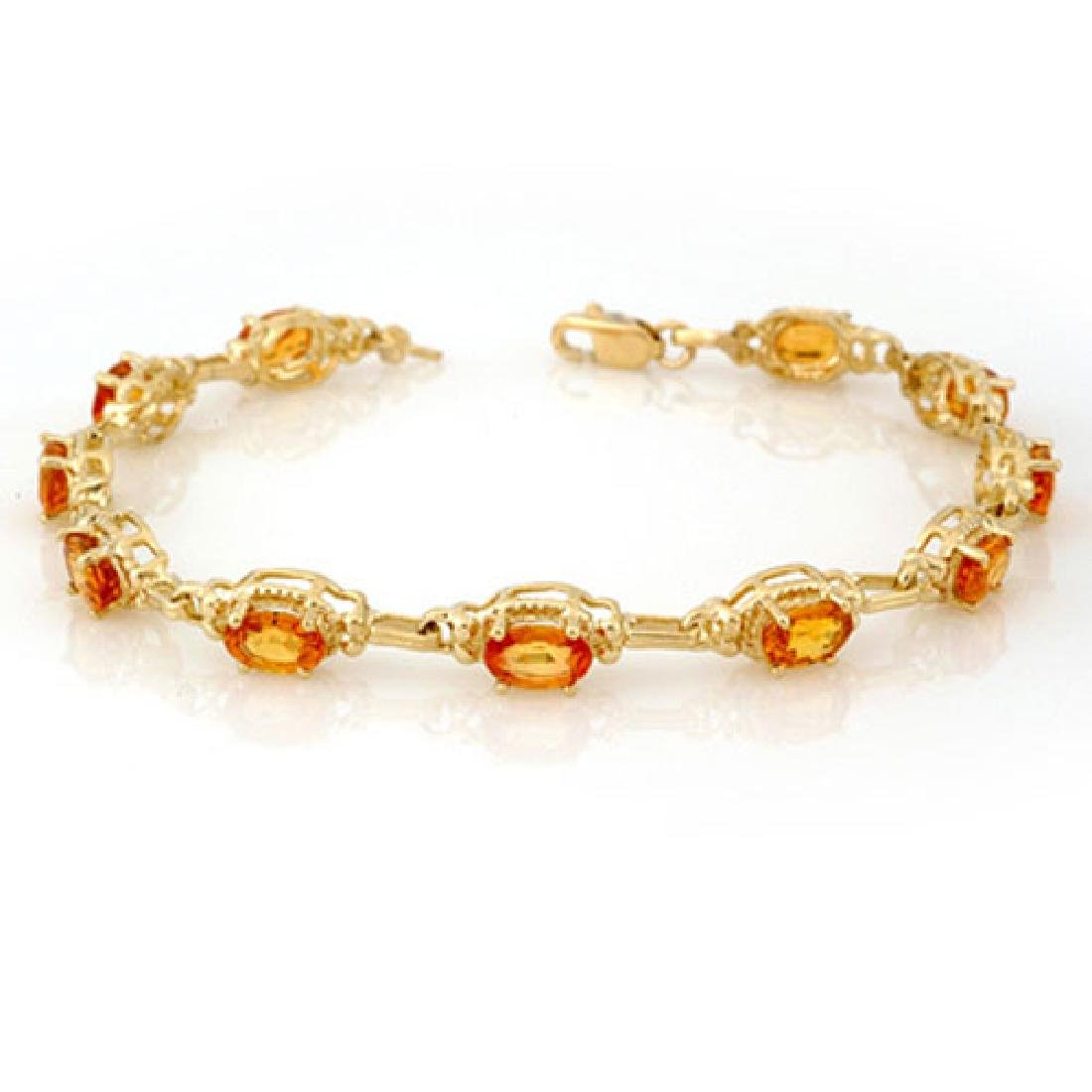 8.0 CTW Yellow Sapphire Bracelet 10K Yellow Gold