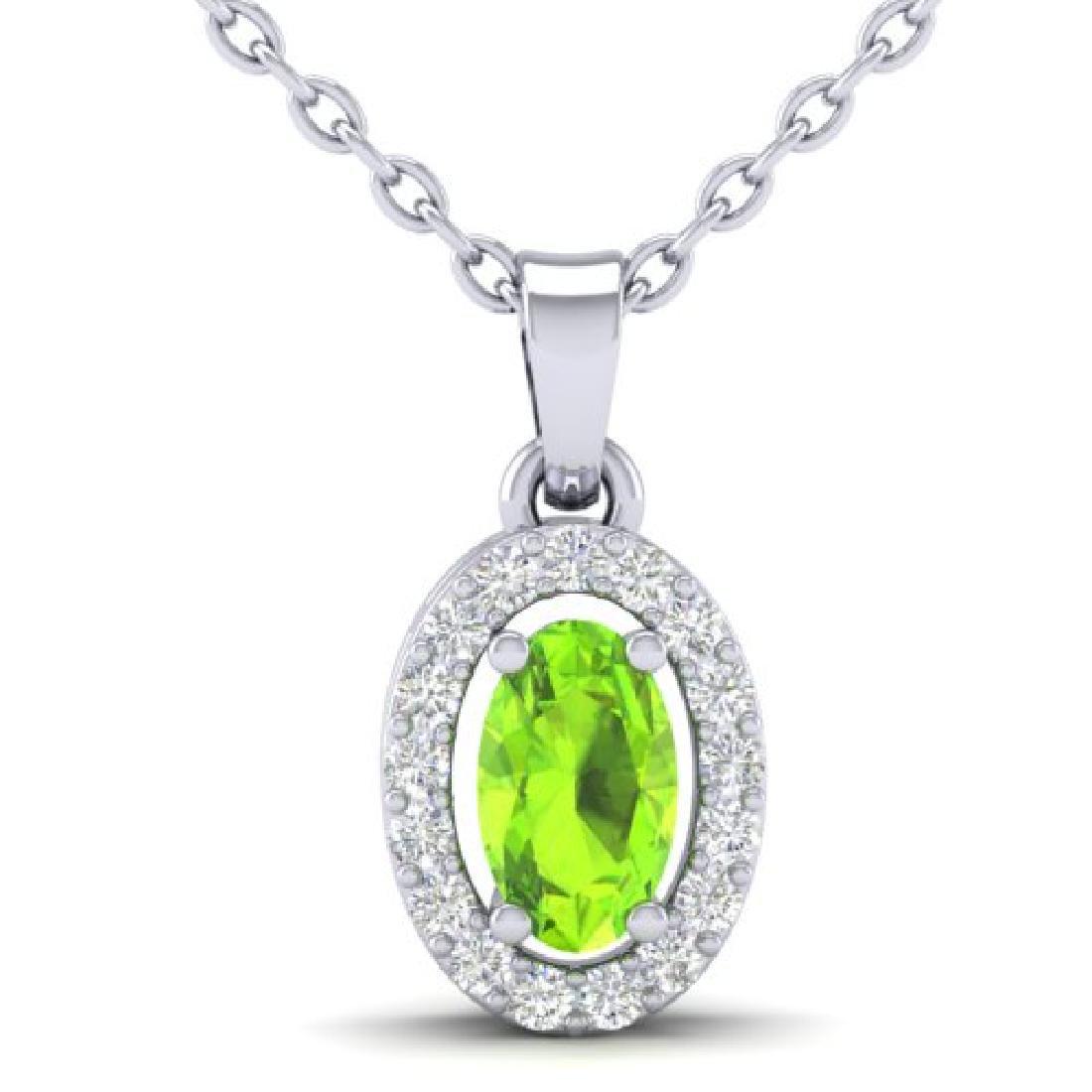 0.41 CTW Peridot & Micro Pave VS/SI Diamond Necklace