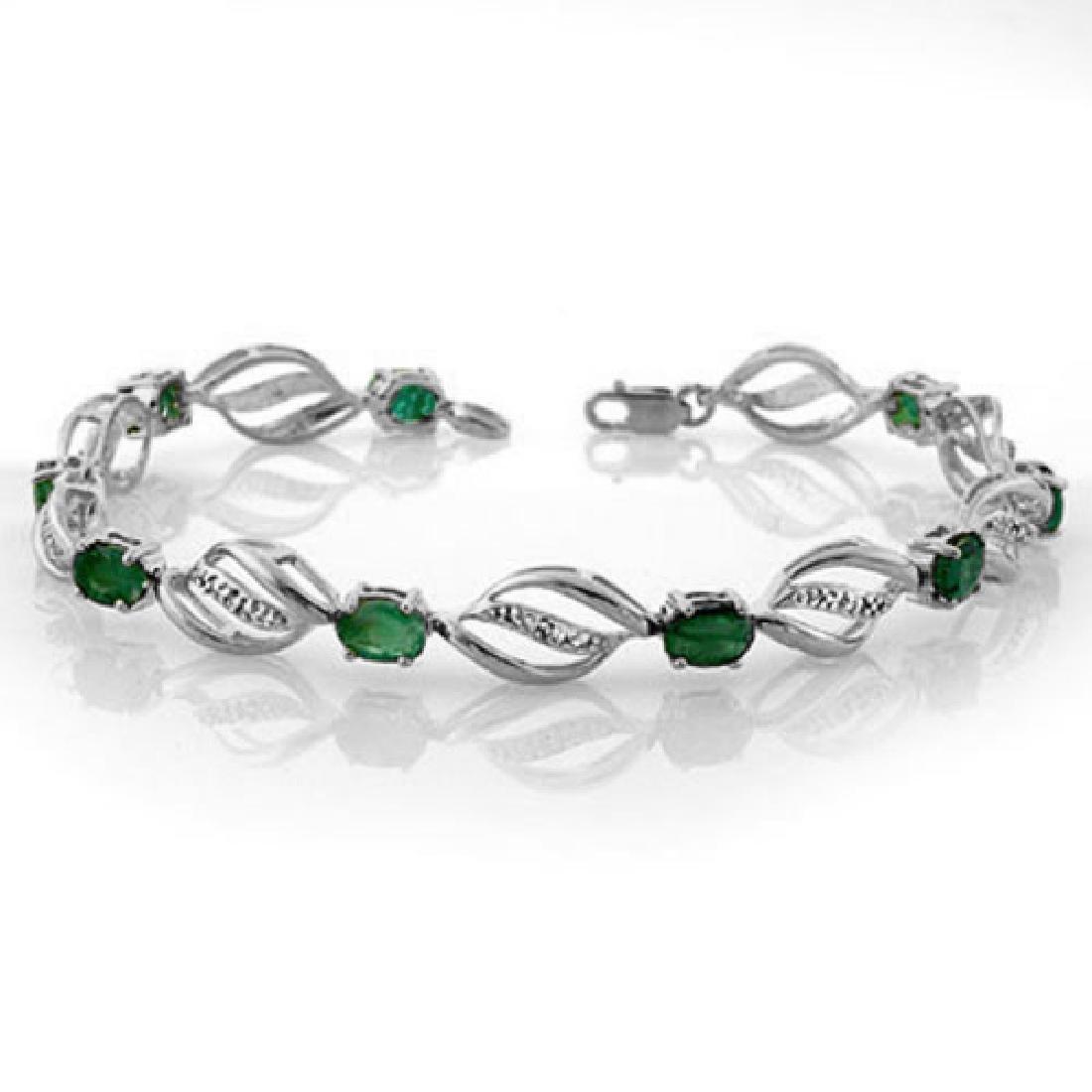 5.10 CTW Emerald & Diamond Bracelet 14K White Gold