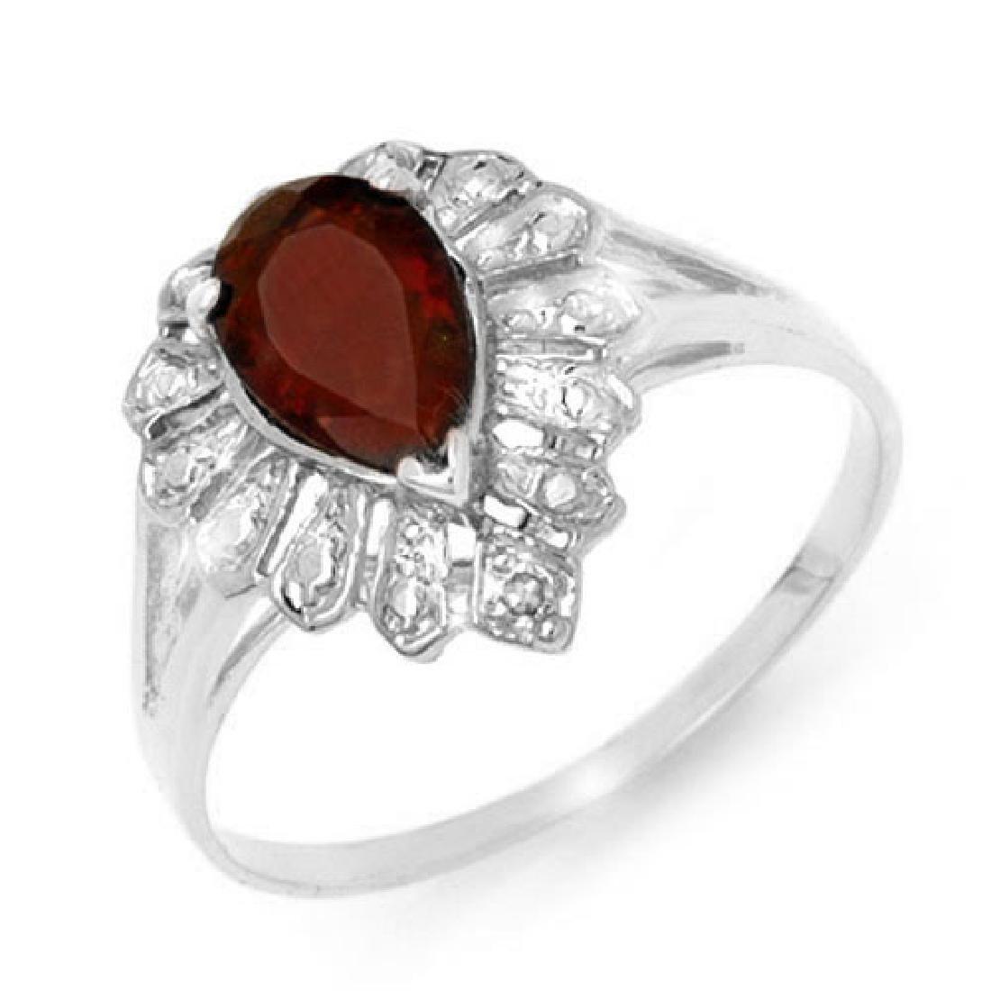 1.11 CTW Garnet & Diamond Ring 18K White Gold