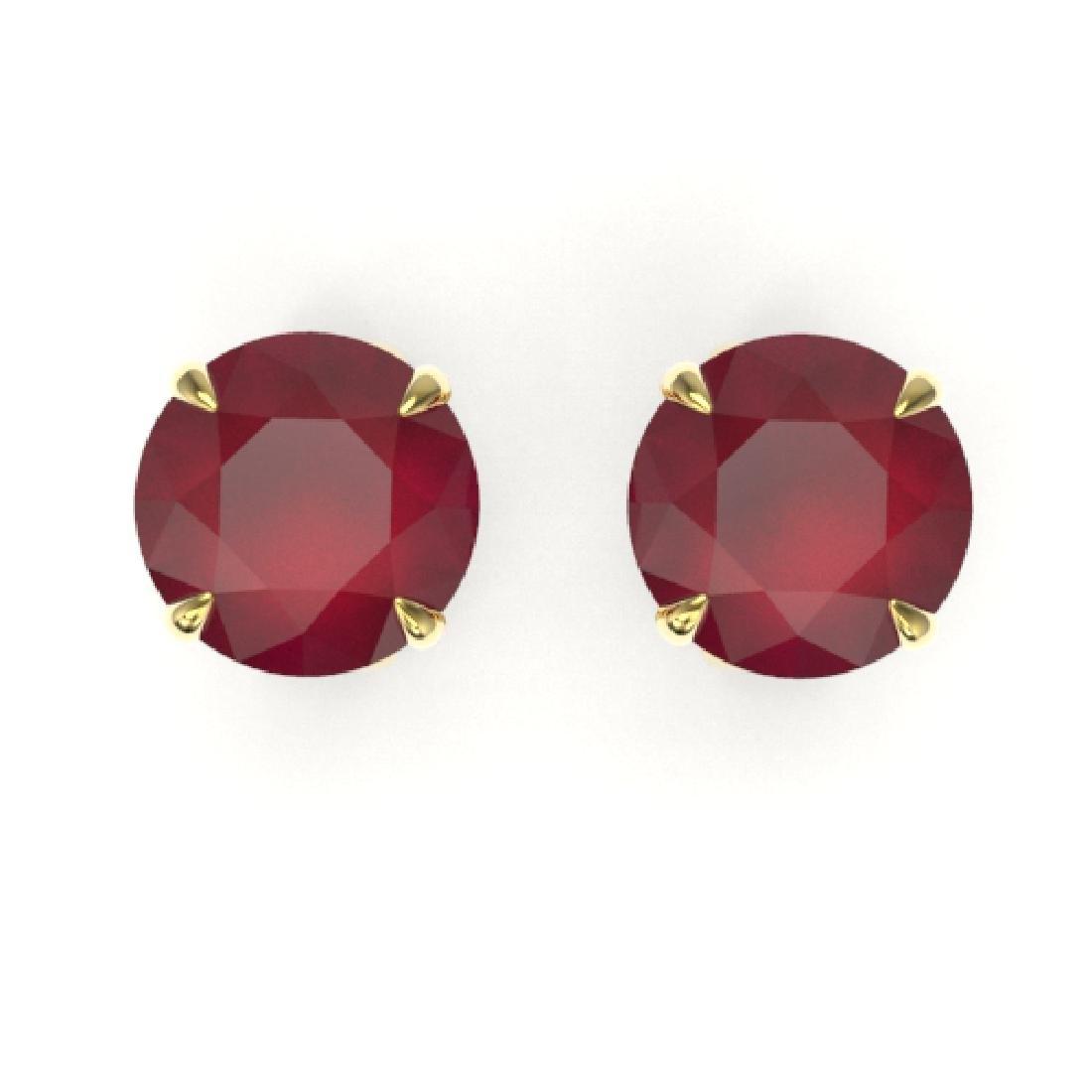 4 CTW Ruby Designer Inspired Solitaire Stud Earrings