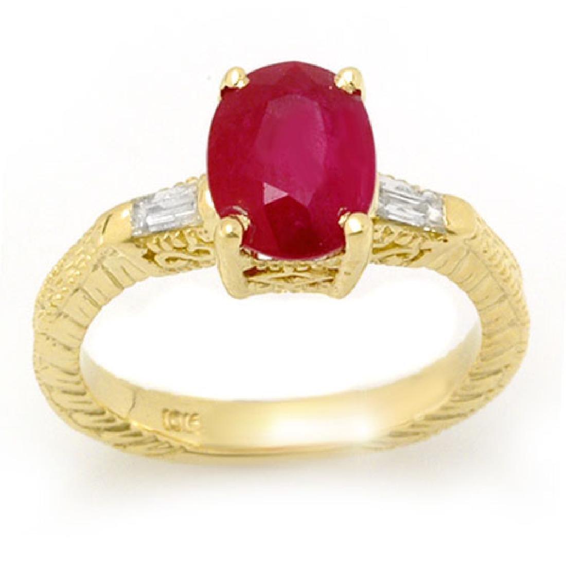 3.70 CTW Ruby & Diamond Ring 10K Yellow Gold