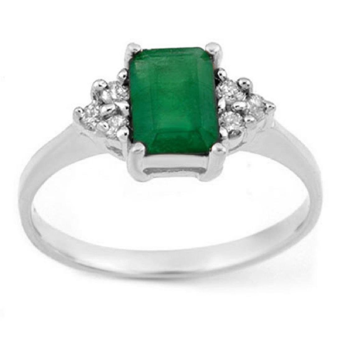 1.12 CTW Emerald & Diamond Ring 18K White Gold