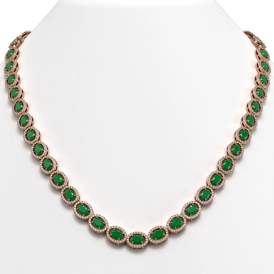 34.11 CTW Emerald & Diamond Halo Necklace 10K Rose Gold