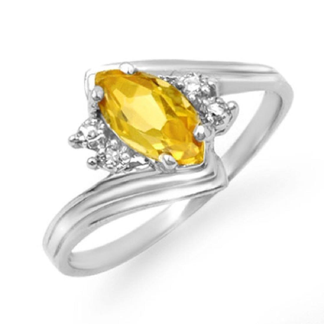 0.48 CTW Citrine & Diamond Ring 10K White Gold