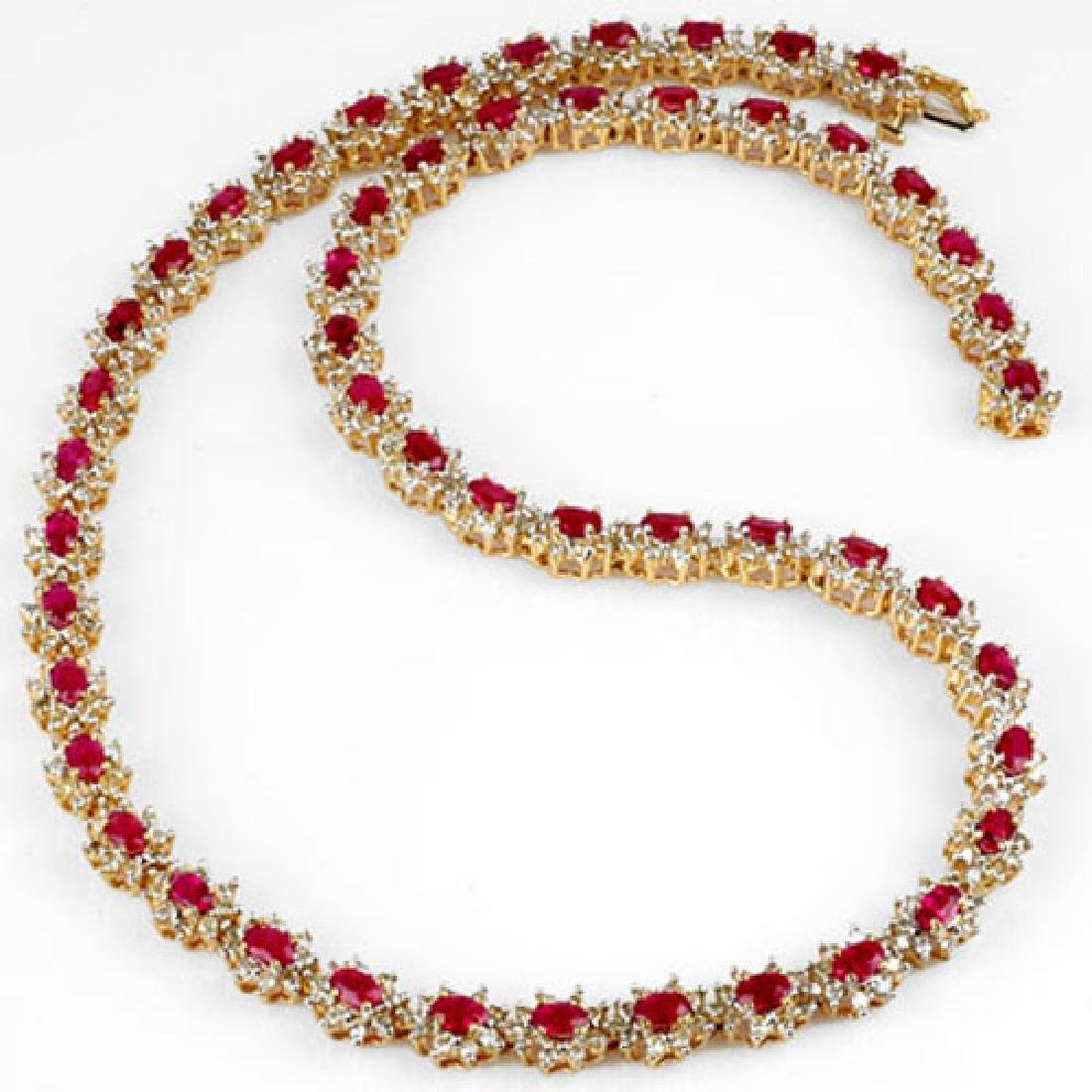 27.10 CTW Ruby & Diamond Necklace 14K Yellow Gold