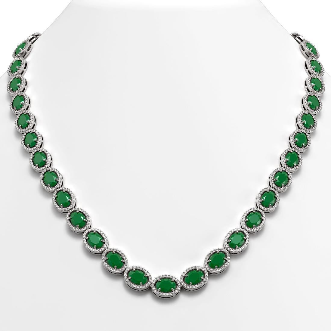 52.15 CTW Emerald & Diamond Halo Necklace 10K White