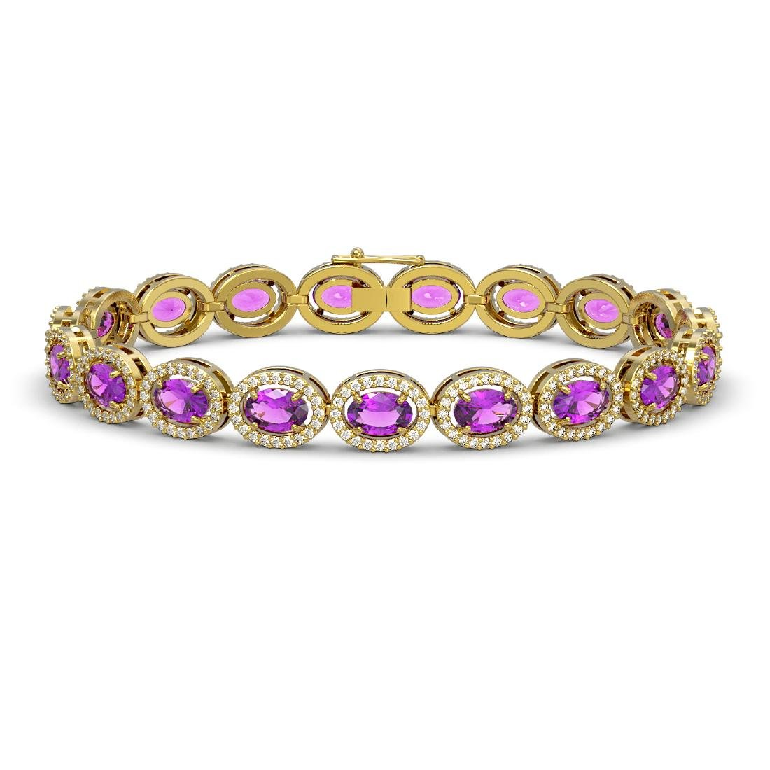 13.11 CTW Amethyst & Diamond Halo Bracelet 10K Yellow