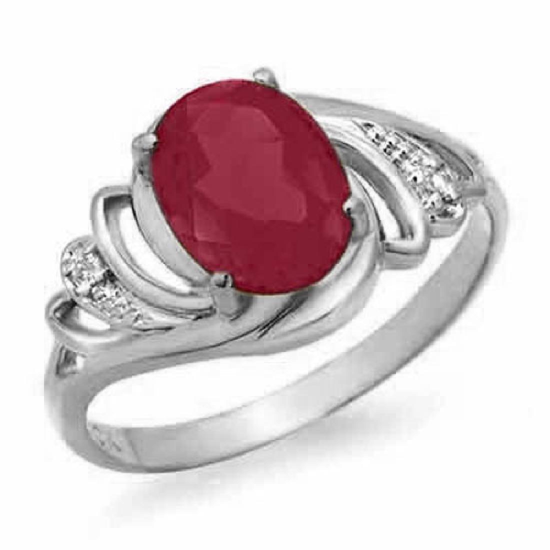 2.25 CTW Ruby & Diamond Ring 18K White Gold