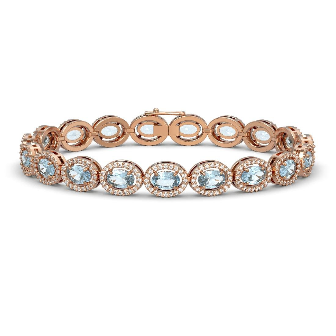 11.02 CTW Aquamarine & Diamond Halo Bracelet 10K Rose