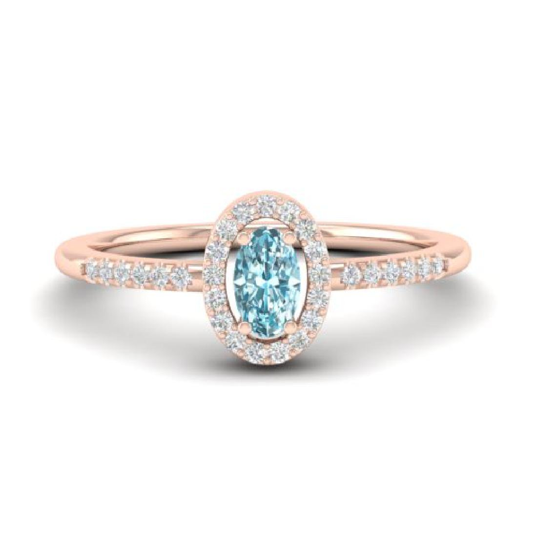 0.50 CTW Topaz & Micro Pave VS/SI Diamond Ring Halo 14K