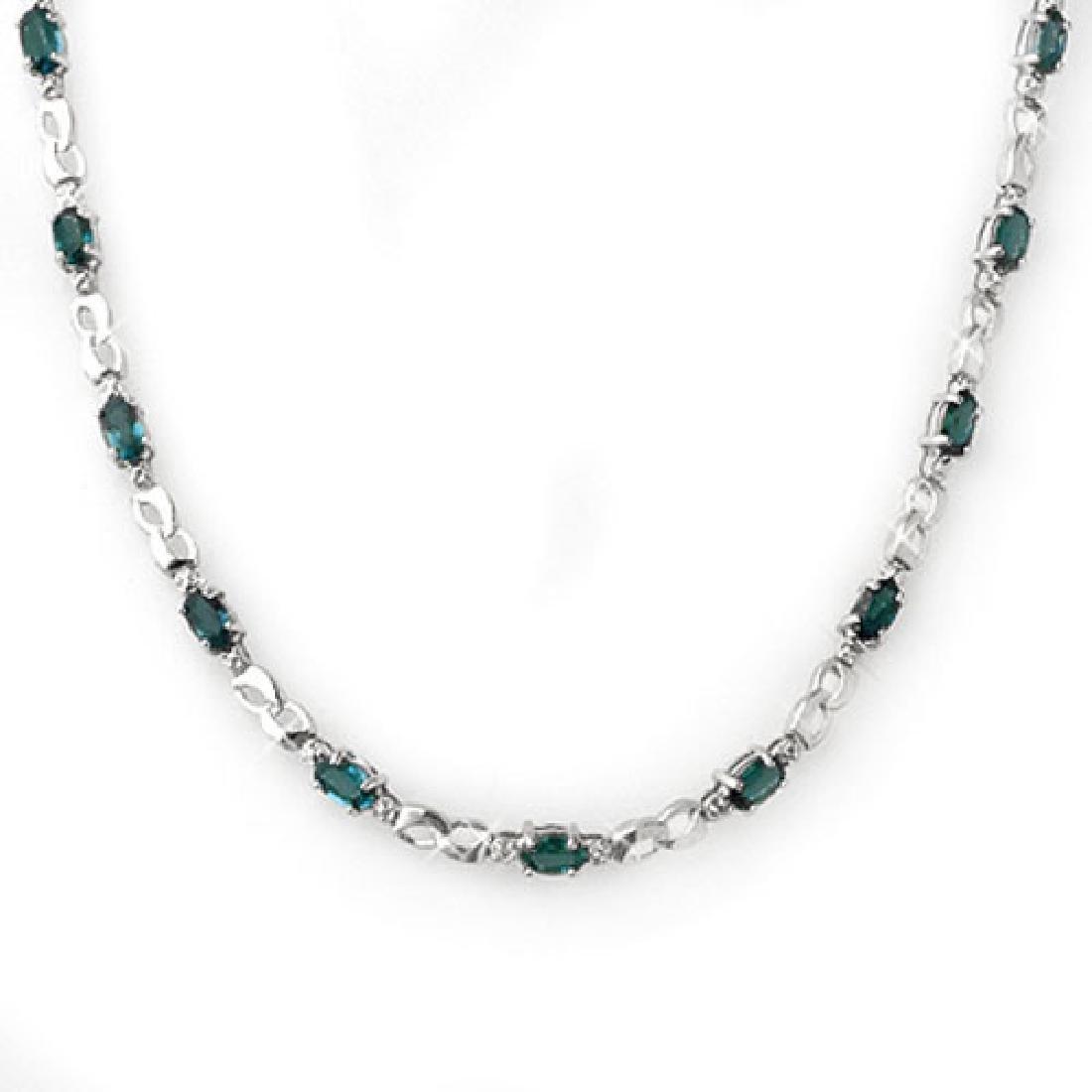 9.02 CTW Blue Sapphire & Diamond Necklace 18K White