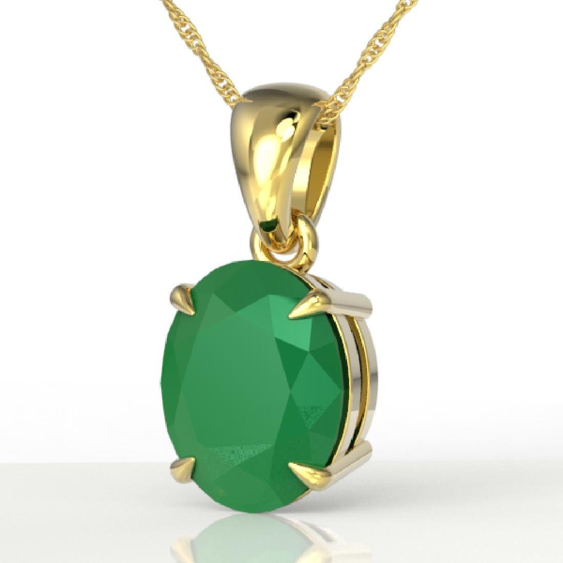 3.50 CTW Emerald Designer Inspired Solitaire Necklace