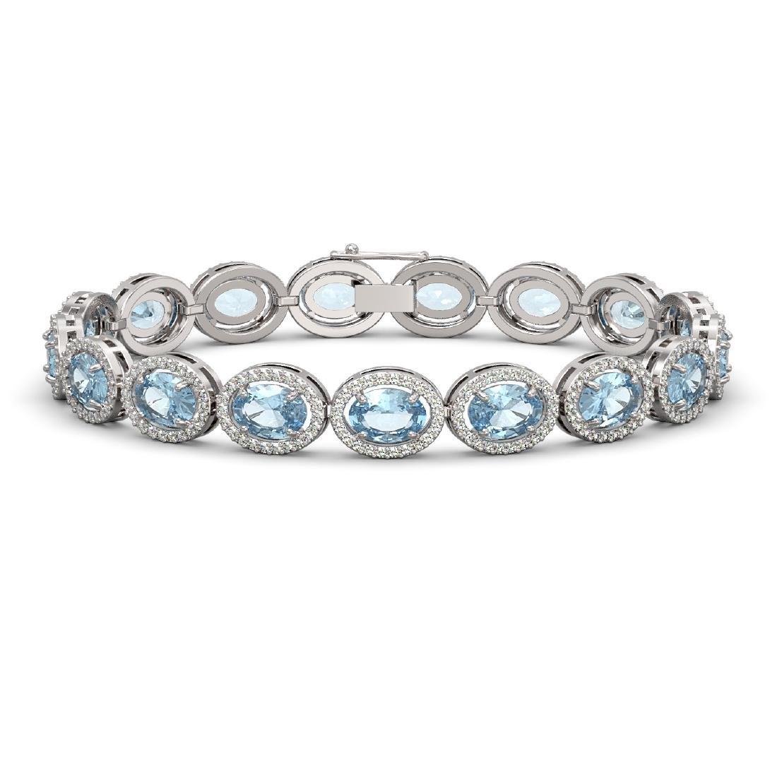 24.32 CTW Sky Topaz & Diamond Halo Bracelet 10K White