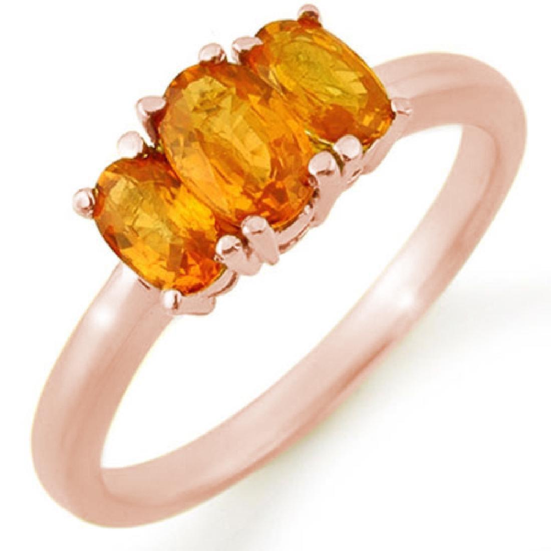 1.18 CTW Orange Sapphire Ring 14K Rose Gold