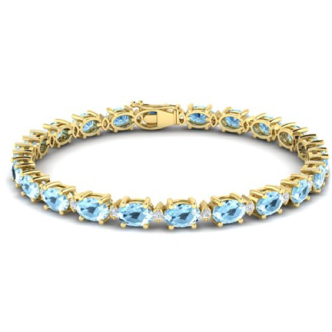 15.9 CTW Aquamarine & VS/SI Certified Diamond Eternity