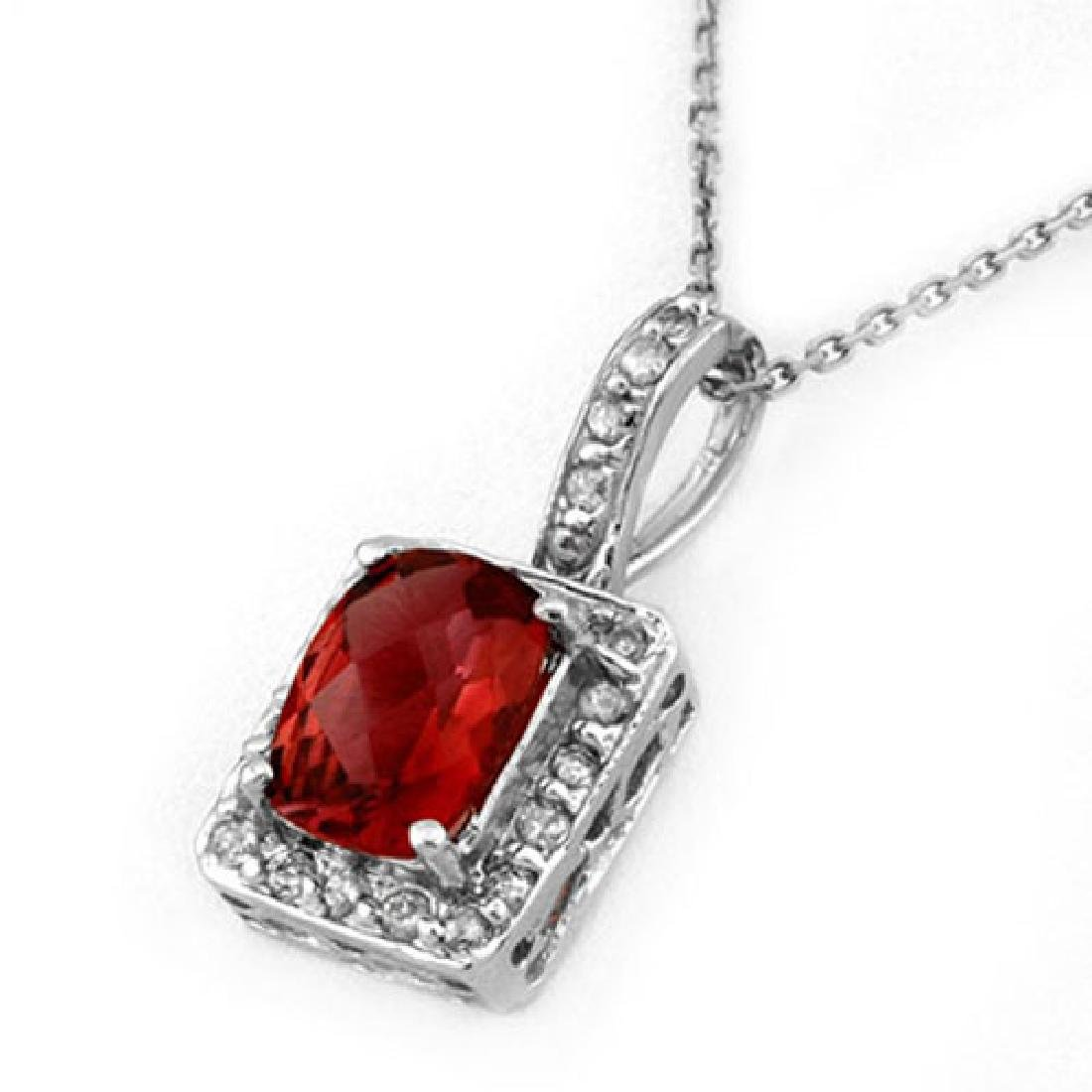 2.25 CTW Pink Tourmaline & Diamond Necklace 14K White