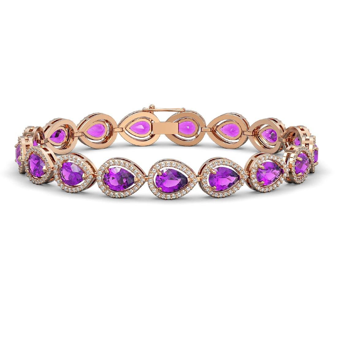 16.76 CTW Amethyst & Diamond Halo Bracelet 10K Rose