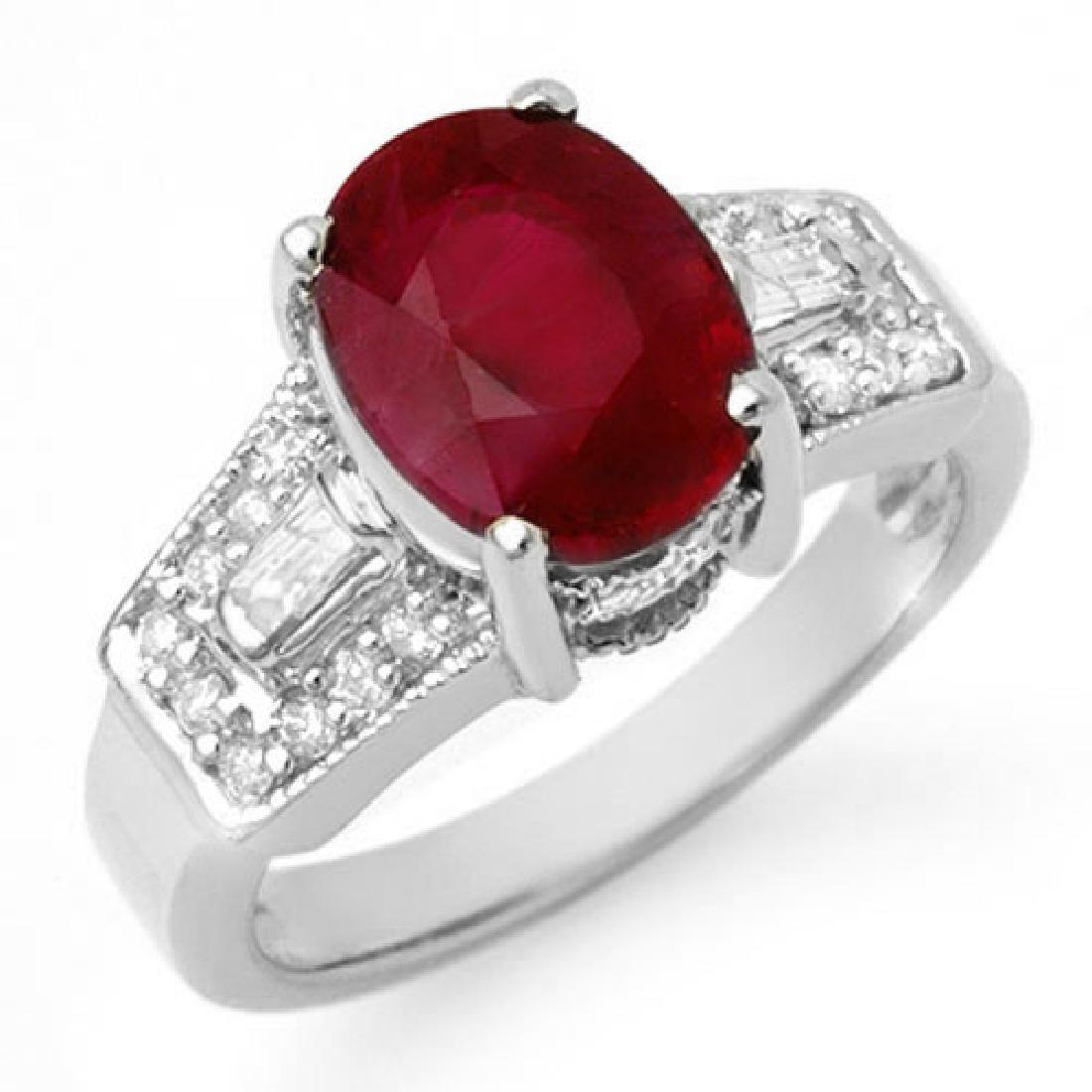5.55 CTW Ruby & Diamond Ring 14K White Gold