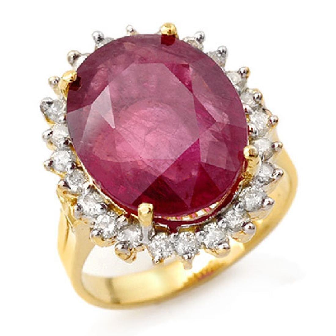 12.0 CTW Ruby & Diamond Ring 14K Yellow Gold