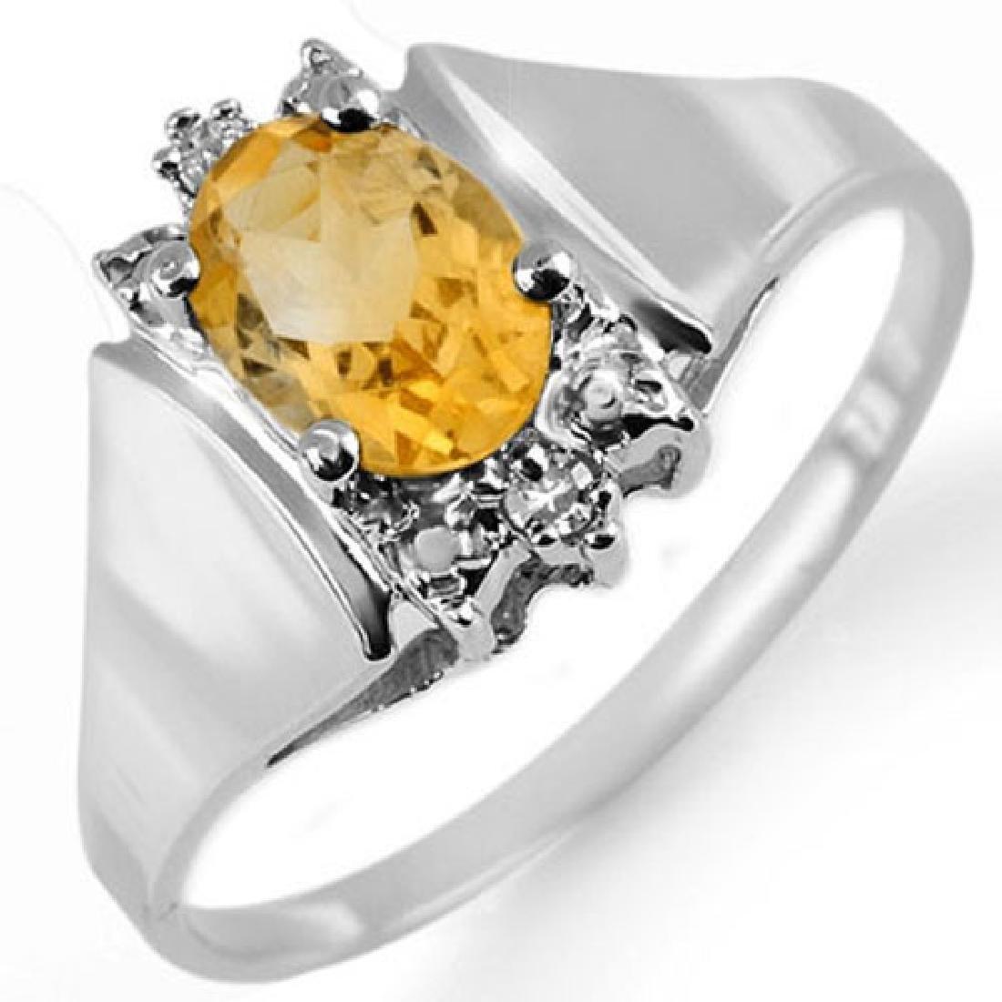 1.23 CTW Citrine & Diamond Ring 10K White Gold