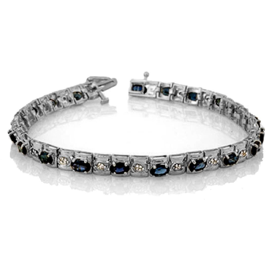 6.09 CTW Blue Sapphire & Diamond Bracelet 14K White
