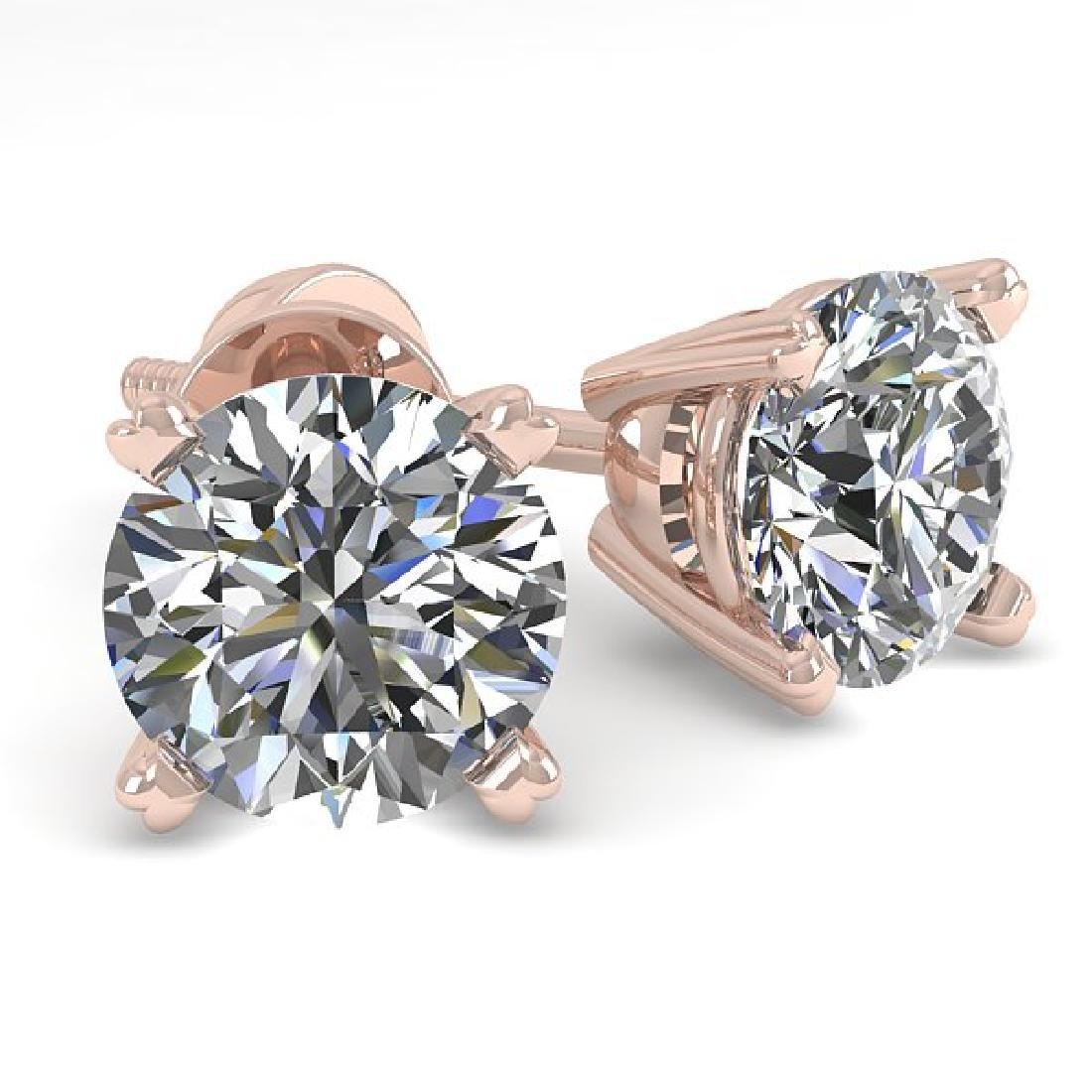 1.0 CTW VS/SI Diamond Stud Designer Earrings 14K Rose
