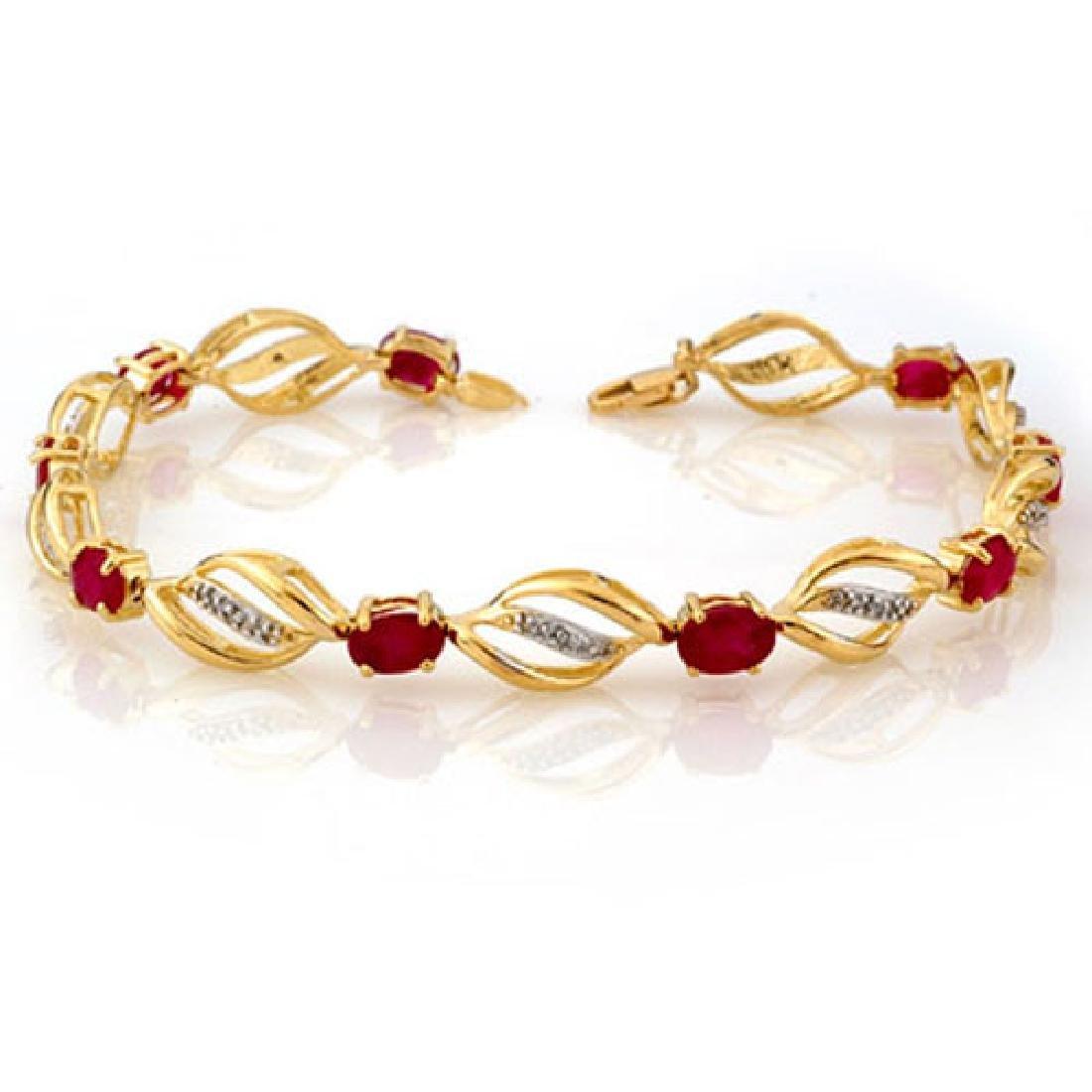 5.10 CTW Ruby & Diamond Bracelet 10K Yellow Gold