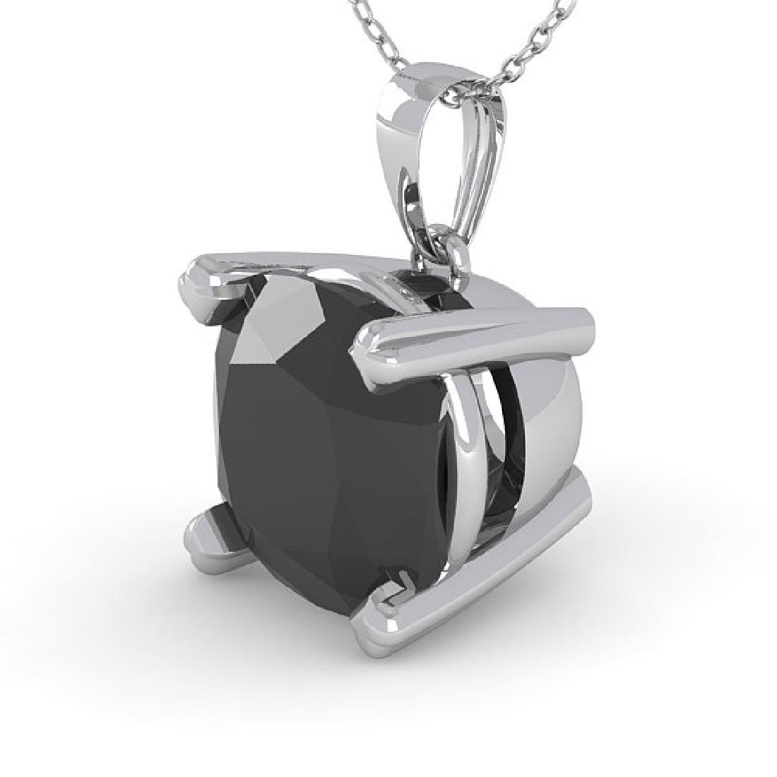 3 CTW Cushion Black Diamond Designer Necklace 18K White