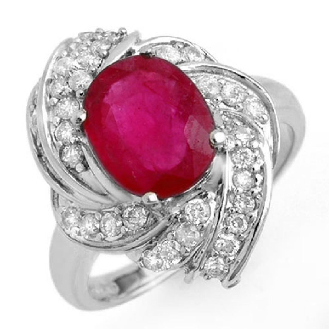 3.55 CTW Ruby & Diamond Ring 18K White Gold