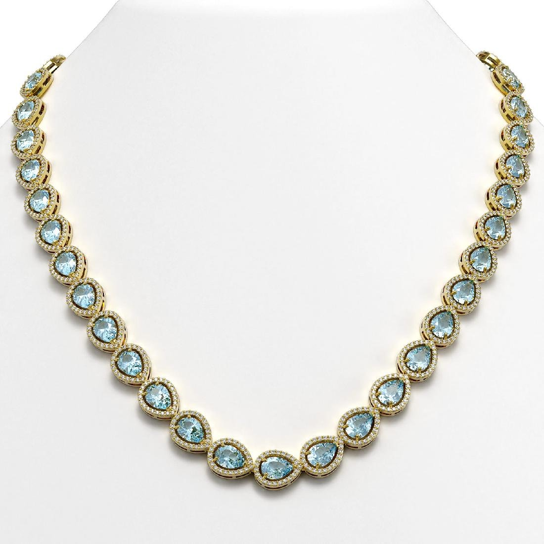 33.35 CTW Aquamarine & Diamond Halo Necklace 10K Yellow