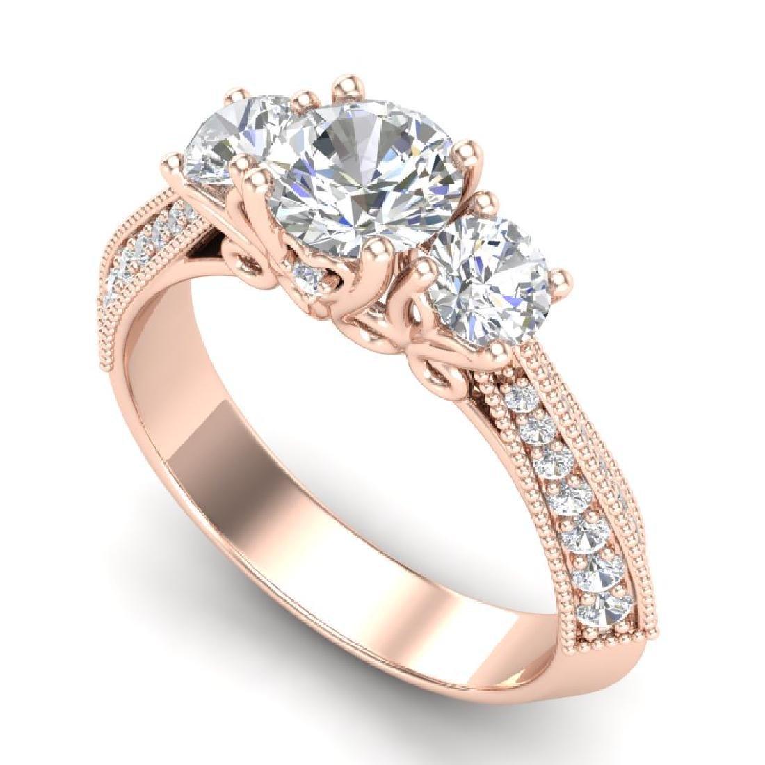 1.81 CTW VS/SI Diamond Art Deco 3 Stone Ring 18K Rose