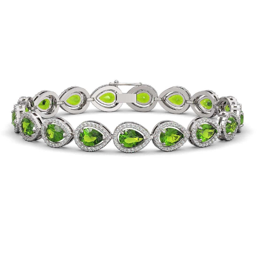 16.08 CTW Peridot & Diamond Halo Bracelet 10K White