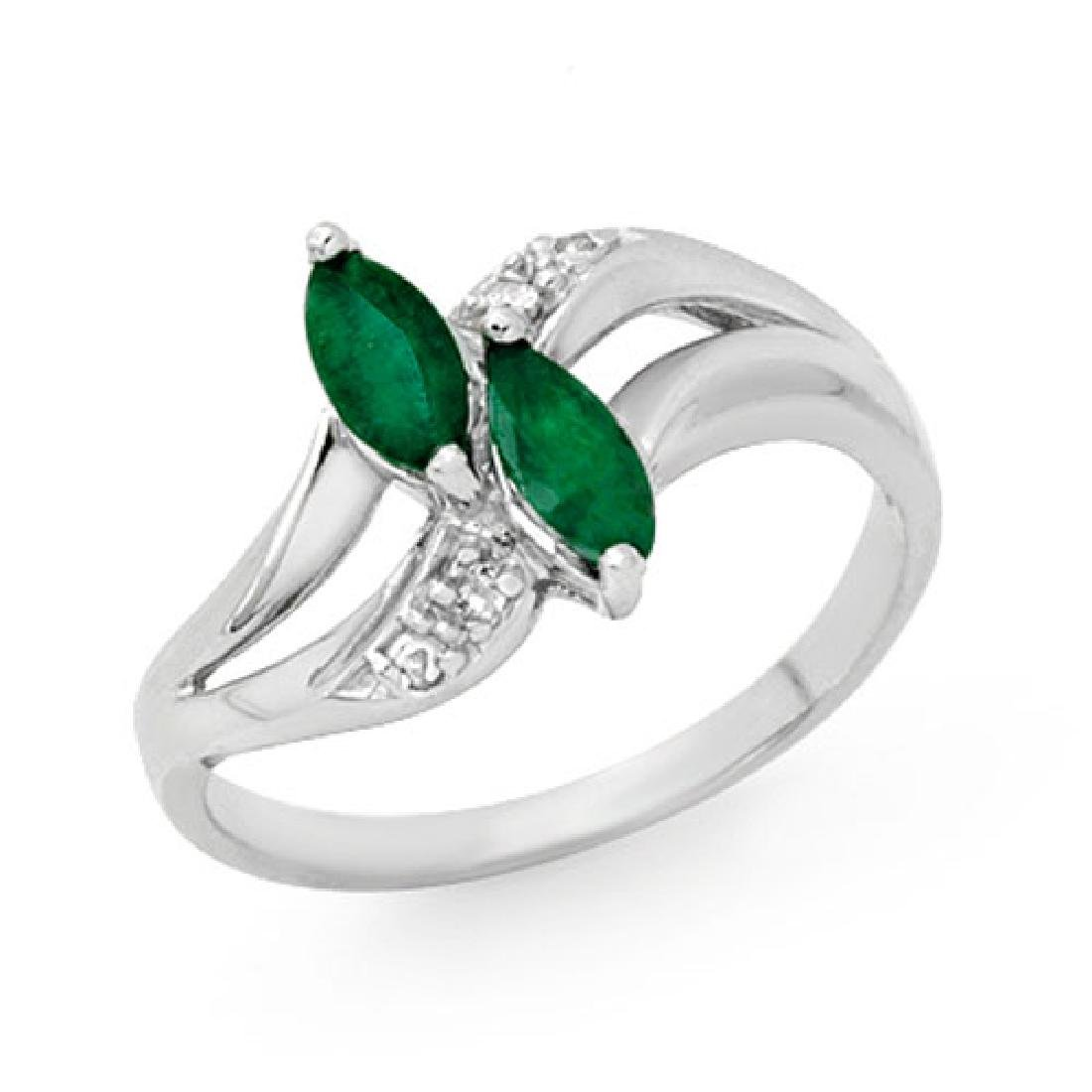 0.45 CTW Emerald & Diamond Ring 18K White Gold