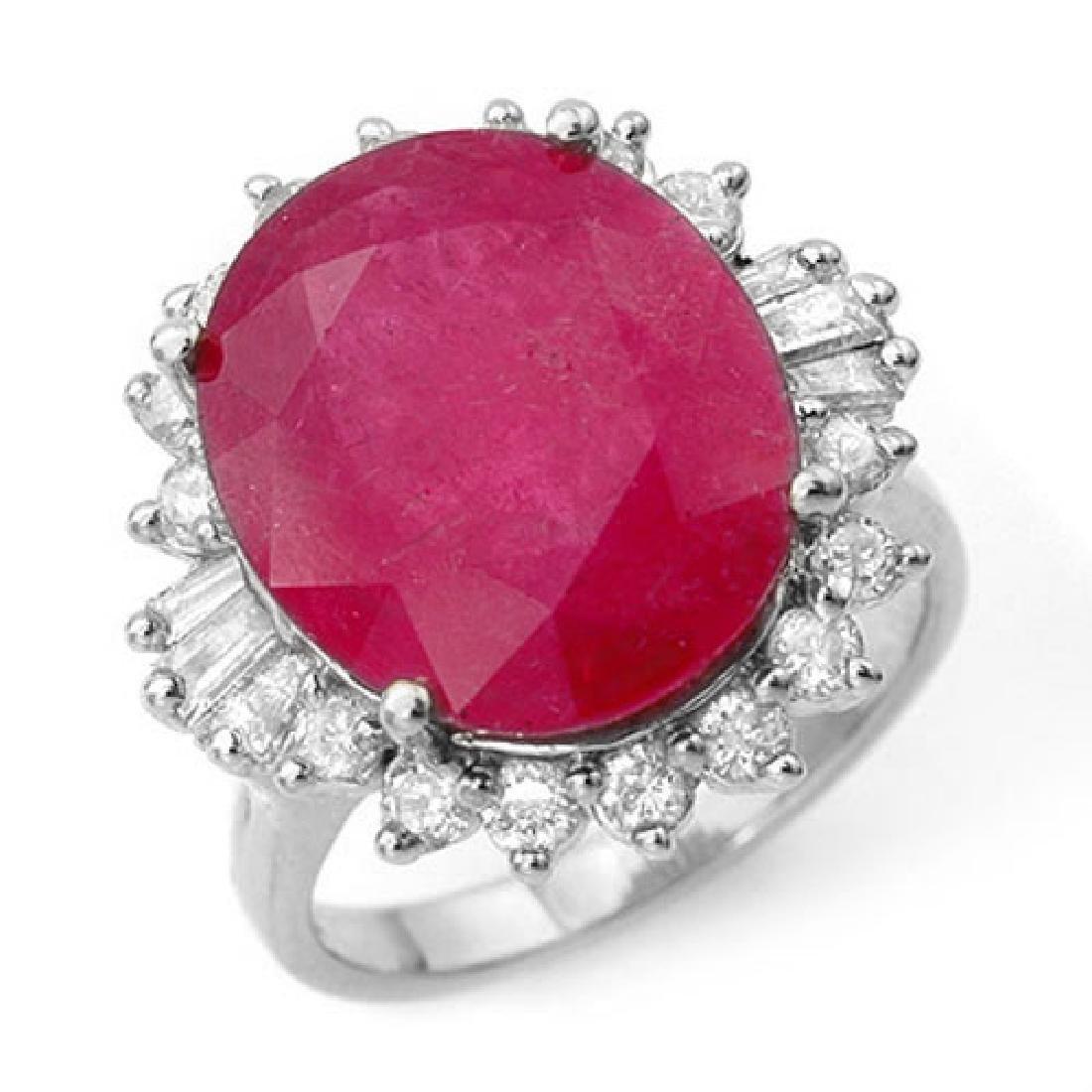 13.12 CTW Ruby & Diamond Ring 18K White Gold