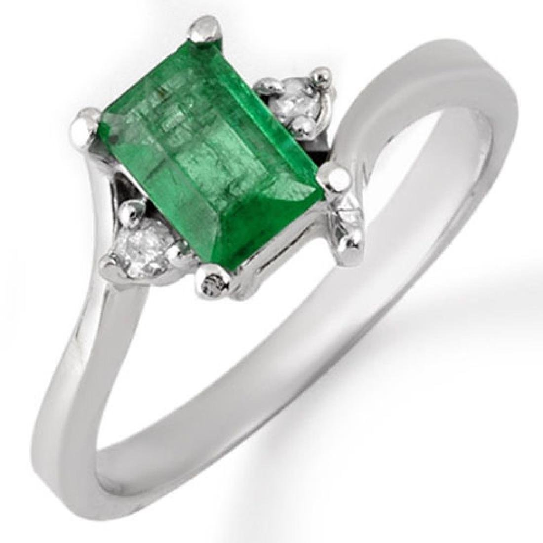 0.60 CTW Emerald & Diamond Ring 10K White Gold