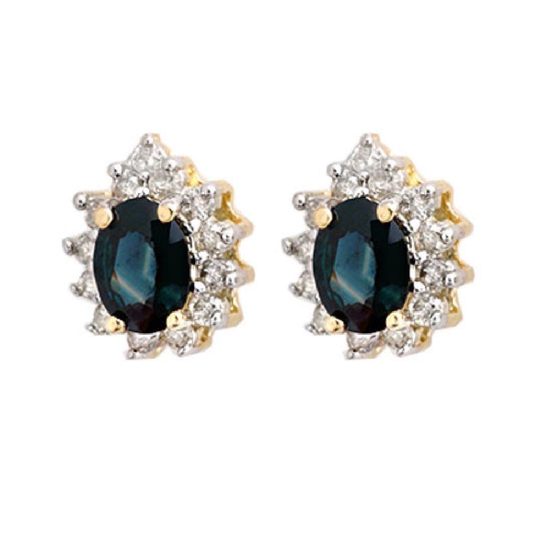 4.05 CTW Blue Sapphire & Diamond Earrings 14K Yellow