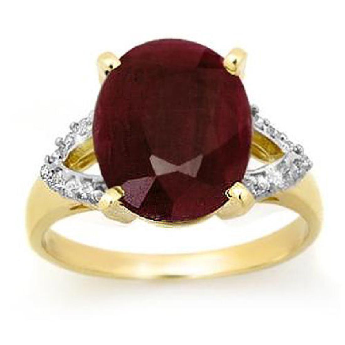 6.50 CTW Ruby & Diamond Ring 10K Yellow Gold