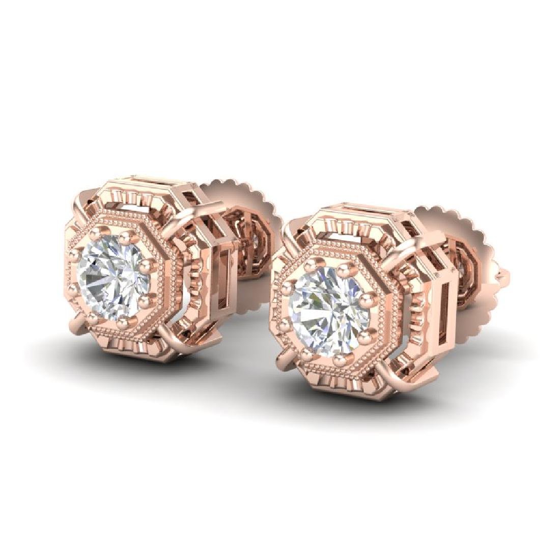 1.11 CTW VS/SI Diamond Solitaire Art Deco Stud Earrings