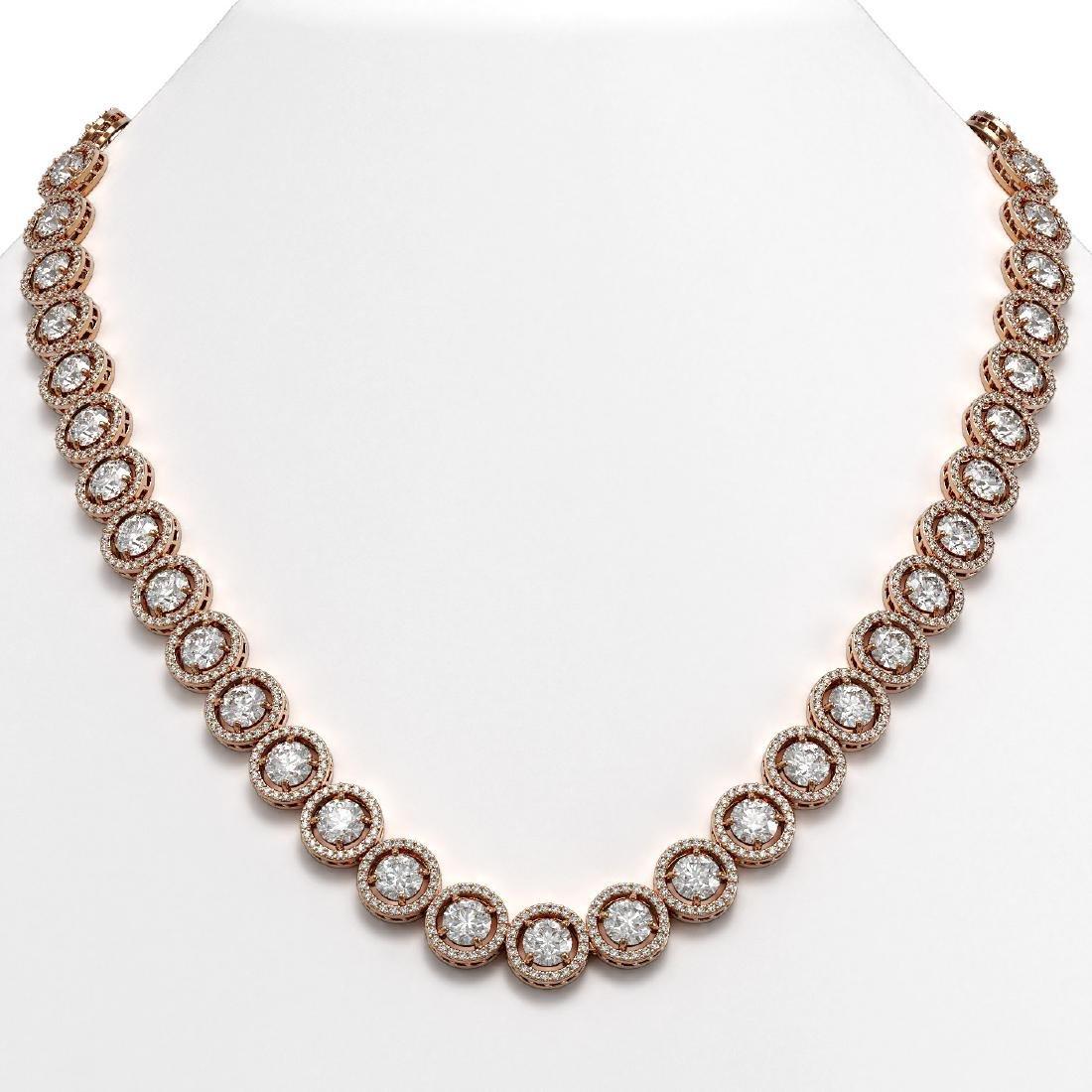35.32 CTW Diamond Designer Necklace 18K Rose Gold