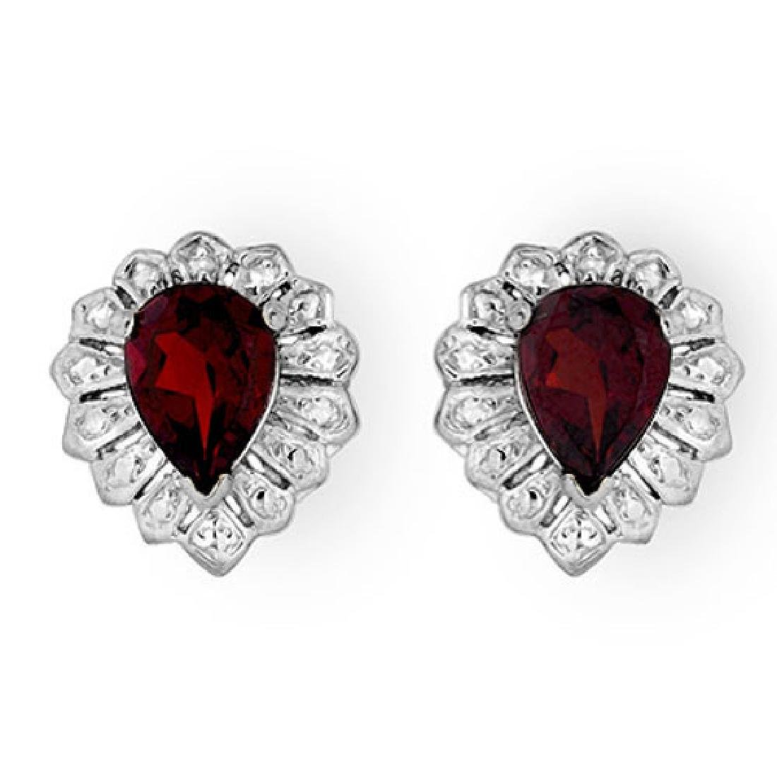 2.20 CTW Garnet Earrings 18K White Gold
