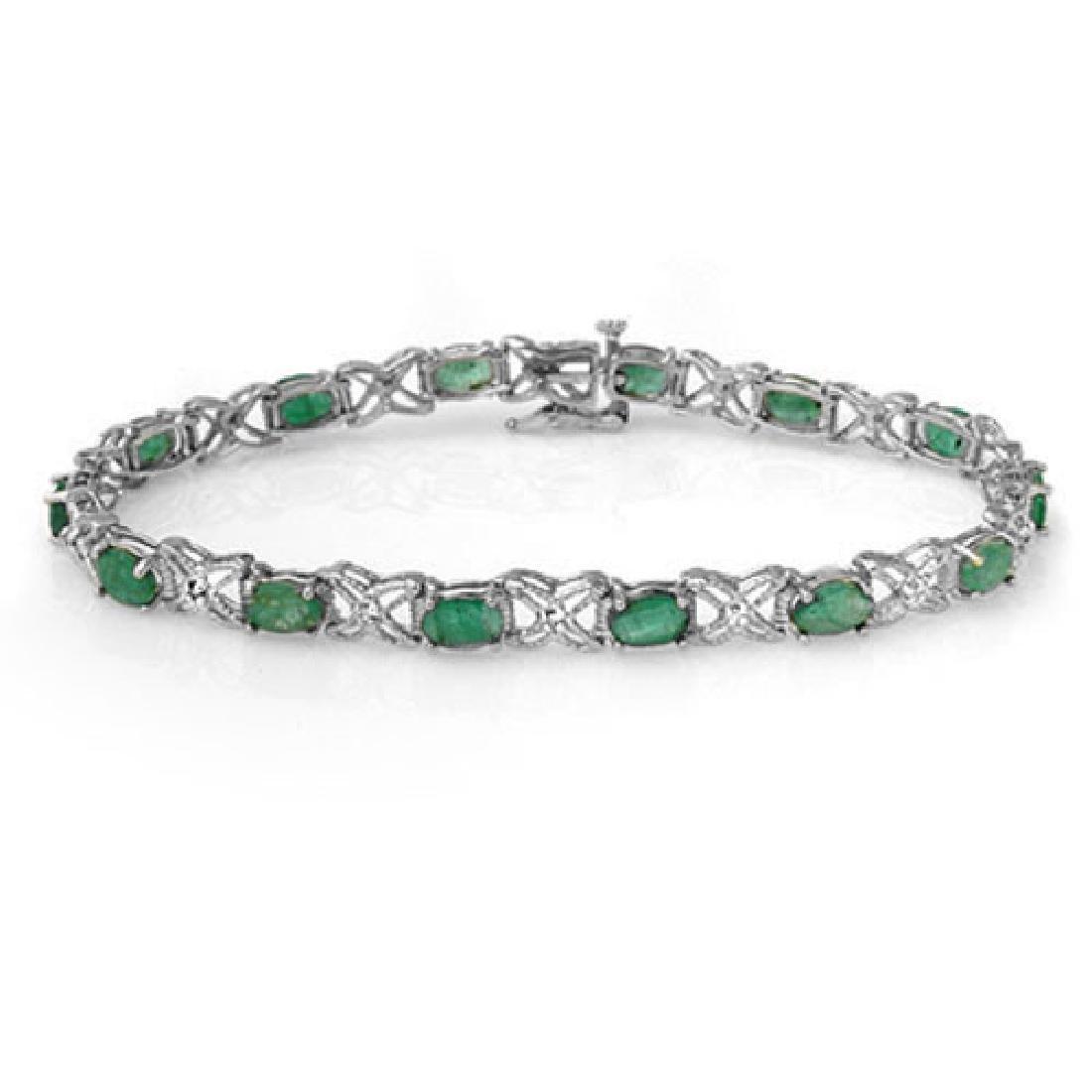 6.85 CTW Emerald & Diamond Bracelet 14K White Gold