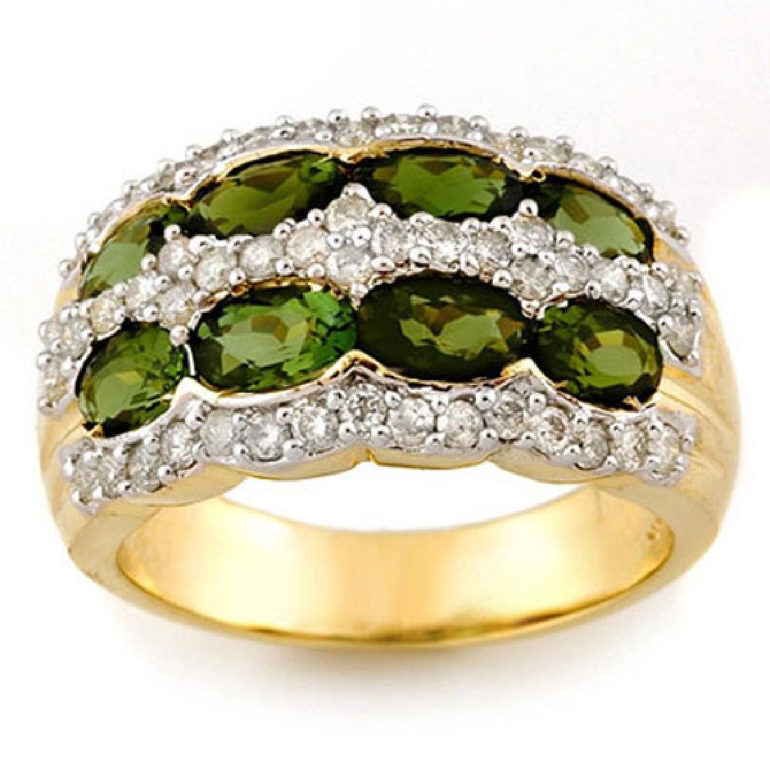 3.0 CTW Green Tourmaline & Diamond Ring 14K Yellow Gold