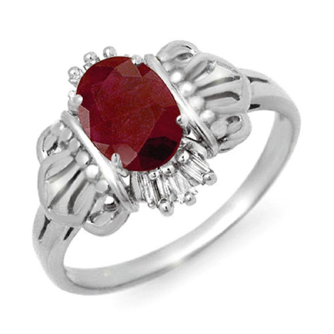 1.06 CTW Ruby & Diamond Ring 10K White Gold