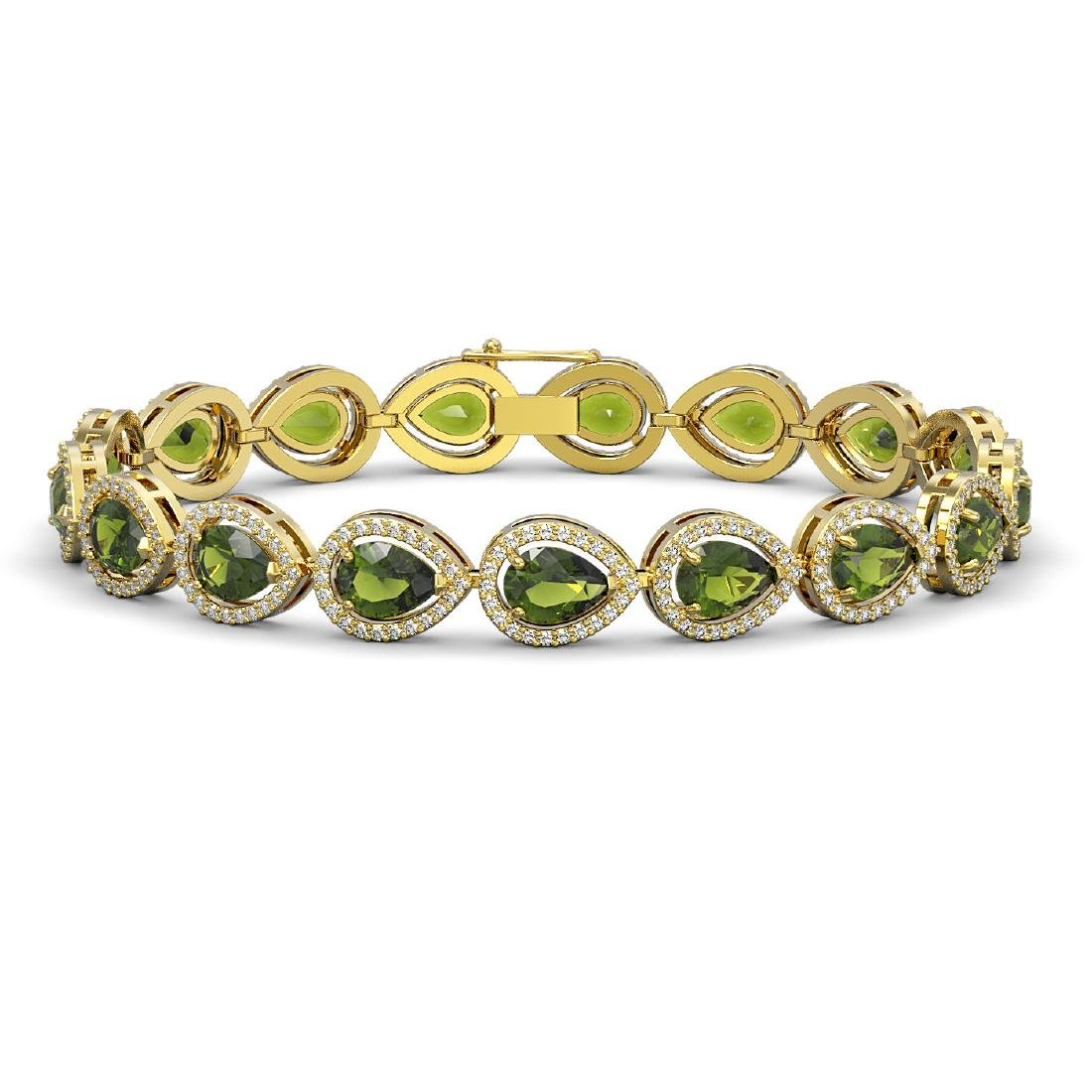 16.93 CTW Tourmaline & Diamond Halo Bracelet 10K Yellow