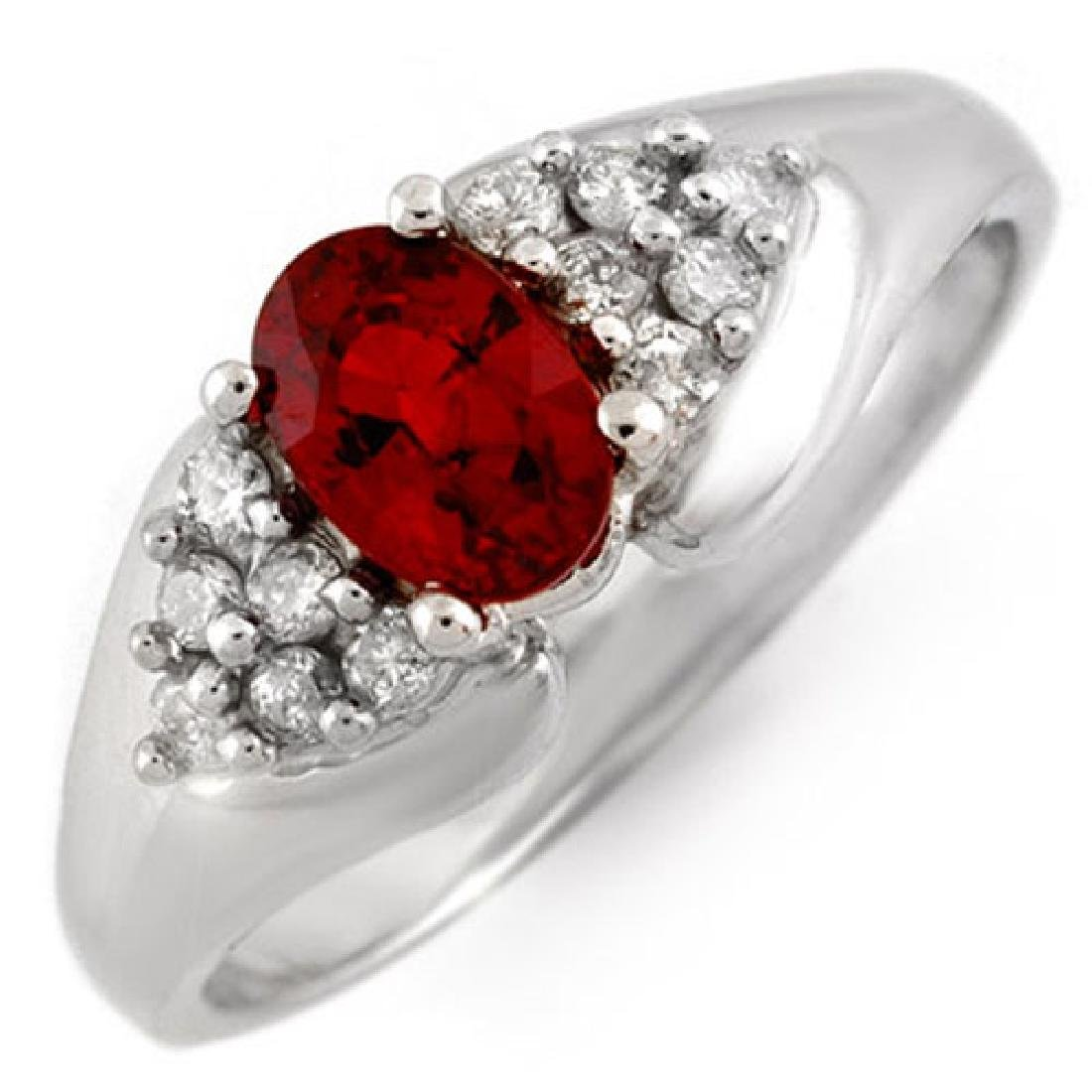 0.90 CTW Red Sapphire & Diamond Ring 18K White Gold