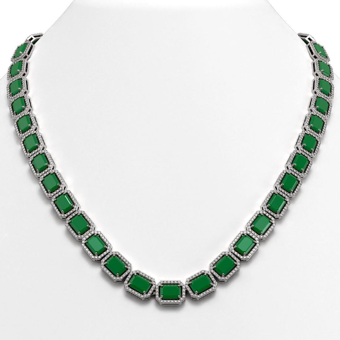 58.59 CTW Emerald & Diamond Halo Necklace 10K White