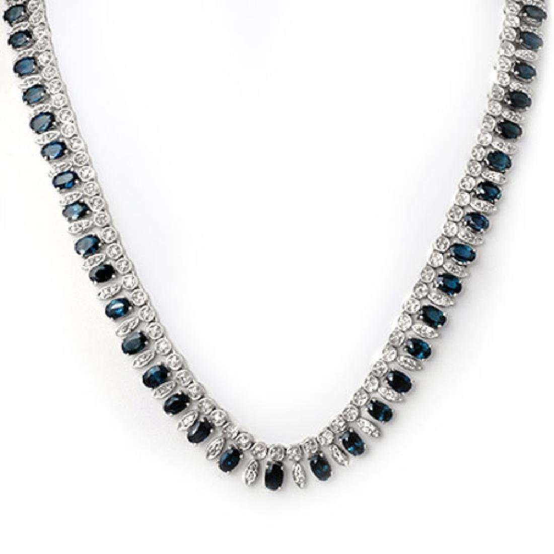 26 CTW Blue Sapphire & Diamond Necklace 14K White Gold