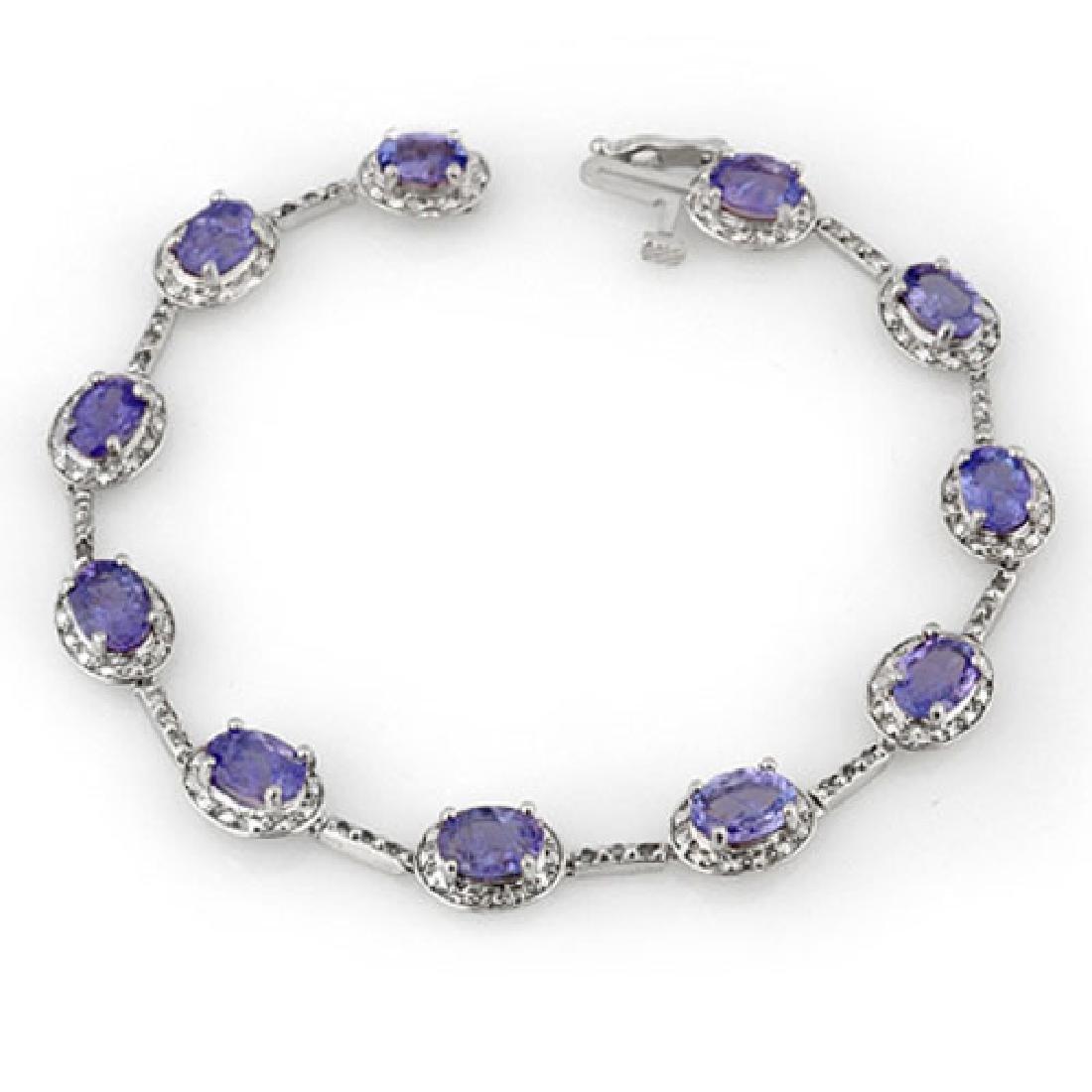 11.40 CTW Tanzanite & Diamond Bracelet 14K White Gold