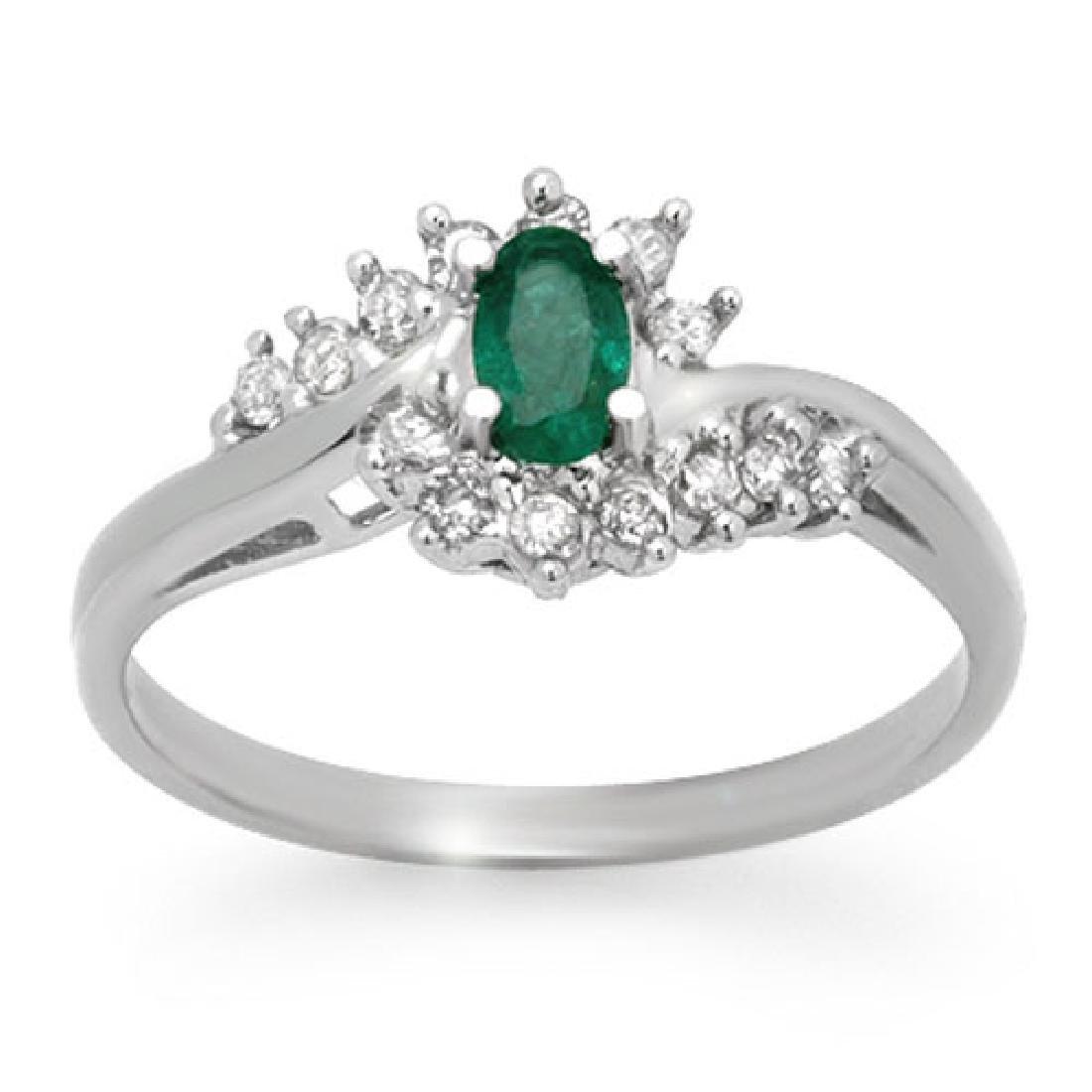 0.45 CTW Emerald & Diamond Ring 18K White Gold
